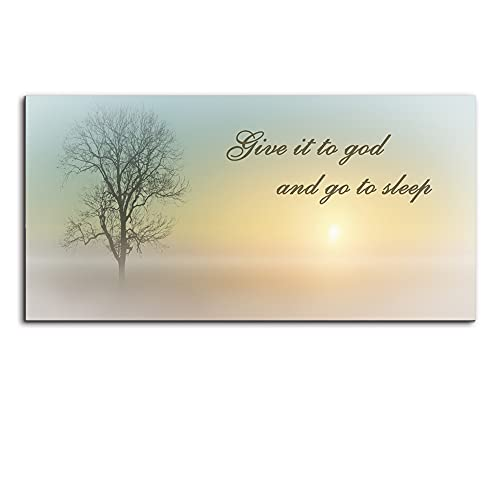 Wood Signs Wall Art for Bedroom of Waterproof Large Wall Art, Bathroom Wall Art of Misty Sunset & Tree, Family Wall Decor by Original Inspirational Work, Inner Frame Canvas Prints Paintings ( 16x32 )