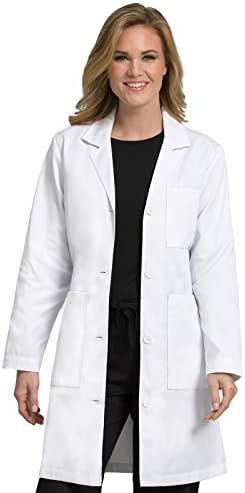 Med Couture Women's Lab Coat 37 inch White Labcoat Long