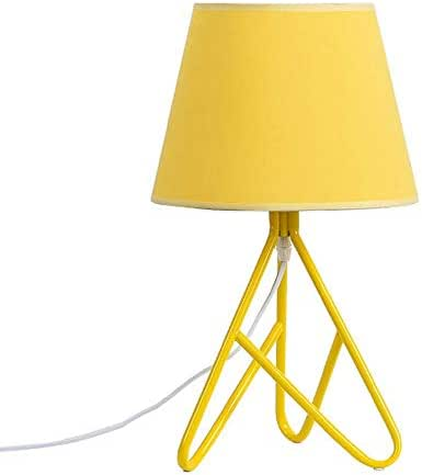 Creative Macaron Table Lamps Fabric Living Room/Bedroom/Bedside Table Wrought Iron Trigeminal Lights (Color : Yellow)