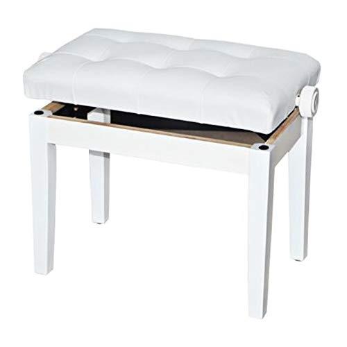 Sillas Muebles Hogar De Madera Banco De Piano Taburete Altura Ajustable con Cojin De Almohada Gruesa Y De Cuero para La Comodidad ZX recepcion (Color : White)
