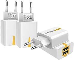 SCHITEC USB Netzteil, 4 Pack USB Ladegerät Stecker 2 Port 5V / 2.1A USB Handy Ladeadapter/Ladestecker für iPhone X 8 7...