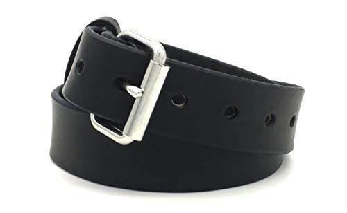 46 For 44\ Black Genuine Latigo Leather Gun CCW Belt Handmade in USA