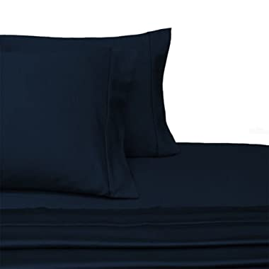 100-Percent Plush Cotton 800 TC Sheet Set by Pure Linens, Lavish Sateen Solid, 4 Piece King Size Deep Pocket Sheet Set, Navy