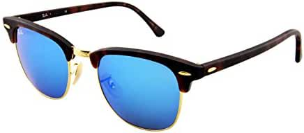 Ray-Ban CLUBMASTER - SAND HAVANA/GOLD Frame GREY MIRROR BLUE Lenses 49mm Non-Polarized