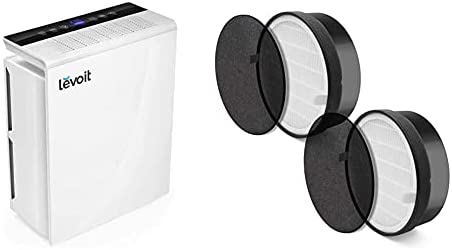 LEVOIT Air Purifier for Home Large Room,Smoke and Odor Eliminator, H13 True HEPA Filter, White & LV-H132-RF 2 Pack Replacement, 3-in-1 Nylon Pre, True HEPA, Carbon Filter, Black, 2 Count