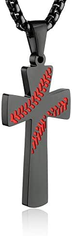 HZMAN Baseball Cross Pendant, I CAN DO All Things Strength Bible Verse Stainless Steel Necklace 22+2