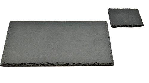 -[ Argon Tableware Square / Rectangular Natural Slate Placemat Set - 6 Coasters & 6 Placemats