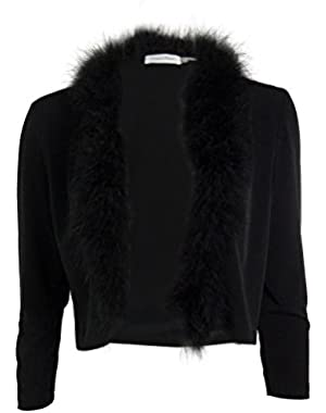 Calvin Klein Womens Feather Trim 3/4 Sleeves Bolero, Shrug