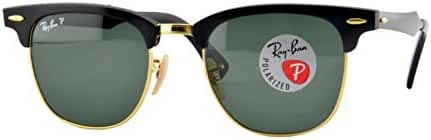 Ray-Ban CLUBMASTER ALUMINUM - BLACK/ARISTA Frame POLAR GREEN Lenses 51mm Polarized