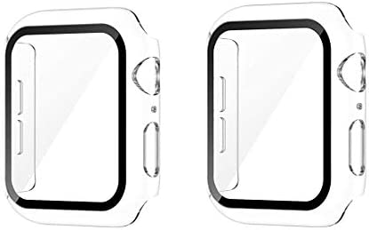 [2 Packs] Sproerden Hard Case for Apple Watch Series SE 6 5 4 44mm with Built in Tempered Glass Screen Protector,HD Clear Ultra-Thin Overall Protective Case(2 Transparent)