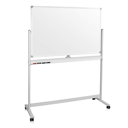 Mobile Whiteboard, Double Sided Dry Erase Board Aluminum Frame, Rolling Stand White Board & Accessories with 4 Markers, 1 Eraser, 12 Push Stickers (48x32)