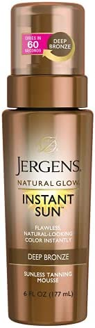 Jergens Natural Glow Instant Sun Body Mousse, Self Tanner for Deep Bronze Tan, Sunless Tanning Body Bronzer, N