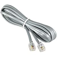 InstallerParts (10 Pack) RJ11 Modular Telephone Cord Extension-- Straight Wiring, Silver (7FT)