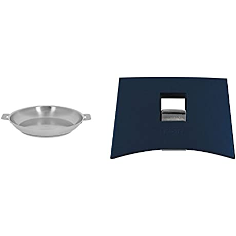 Cristel Strate P24QL Fryingpan 9 5 Silver With Cristel Mutine Spplmaeb Set Of Handles Blue Ink
