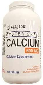 Oyster Shell Calcium Tablets, 500mg, 1000ct by Major Pharmaceuticals