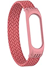 Braided Stretch Solo Loop Strap for Xiaomi Mi Band 3, 4, 5 - Pink - (Size S = 13.5 : 15 cm)