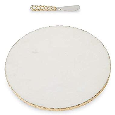 Mud Pie 4755024 Gold Edge Marble Set Serving Board, One Size, White