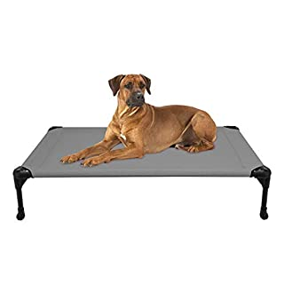 Veehoo Cooling Elevated Dog Bed, Portable Raised Pet Cot with Washable & Breathable Mesh, No-Slip Rubber Feet for Indoor & Outdoor Use, Large, Silver Gray