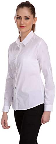 ItkiUtki Women's Basic Button Down Shirts Long Sleeve Simple Cotton Stretch Formal Casual Shirt Top