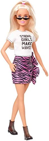 Barbie Fashionistas Doll with Long White Blonde Hair Wearing Graphic T-Shirt, Pink Animal-Print Skirt, Translu