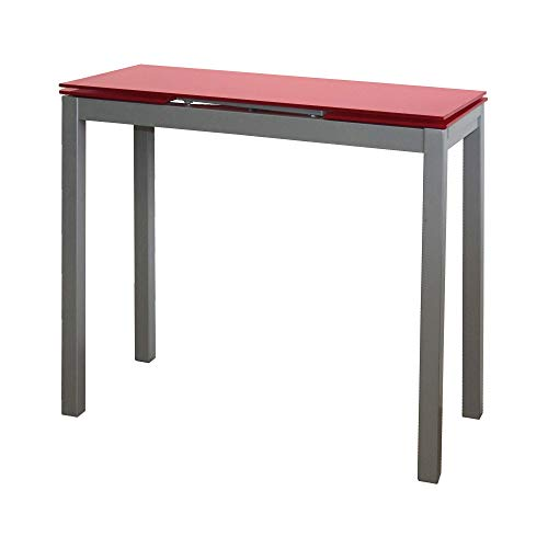 MOMMA HOME Mesa de Cocina Extensible - Modelo Novi - Color Rojo/Plata - Material Cristal Templado/Metal - Medidas 85/135 x 40 x 76 cm