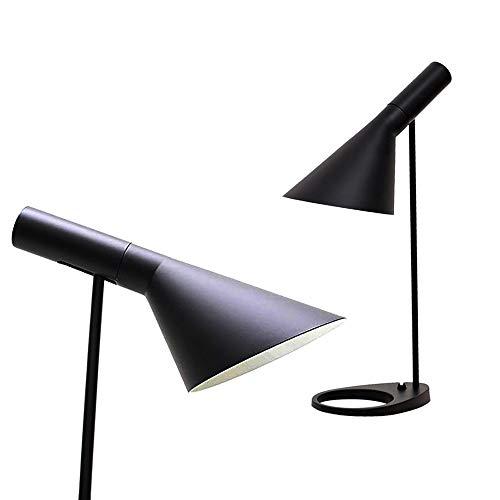 BarcelonaLED Lampara de escritorio LED de diseno moderno metal nordico casquillo E27 en negro para lectura estudiar Iluminacion Interior Oficina Mesa de noche Salon Habitacion Dormitorio y Estudio
