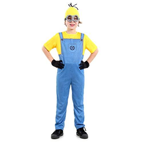 Fantasia Minions Masculino Infantil Sulamericana Fantasias Azul/Amarelo G 10/12 Anos