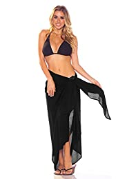 1 World Sarong Womens Fringeless Swimsuit Cover-up Solid Sarong