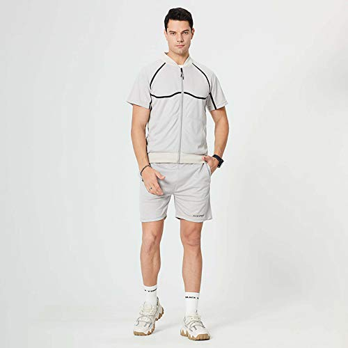 Herren Sport T-Shirt Anzug, Sommer Freizeit Plus Größe Fitness Outdoor Lauf zweiteiligen Anzug(Grau-2,S)