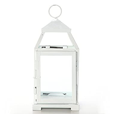 Hosley's 12  High Clear Glass & Iron, Classic Style Lantern. WHITE. Ideal Gift for festivities, parties, weddings, aromatherapy and spa settings. Bulk Buy