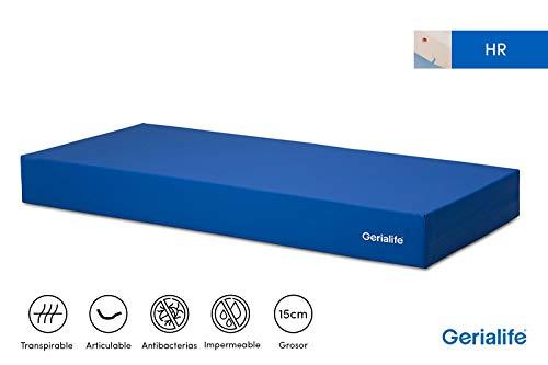 Gerialife Colchon Geriatrico Hospitalario Articulado | 15 cm de Espuma HR | Funda Sanitaria Impermeable (90x190)