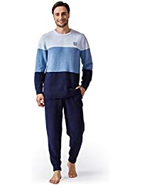 Men's Plush Fleece Sleepwear Warm Cozy Long Sleeve Top & Bottom Pajama Set Nightwear