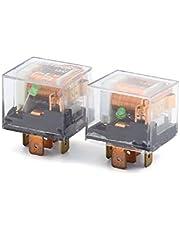 New Lon0167 2 Pcs 12V 80A SPDT 5 Pin Green Indicator Light Car Truck Relay Control Device(2 Stcke 12 V 80A SPDT 5 Pin Grne Anzeigelampe Auto Lkw Relay Control Device