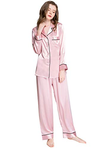 Lonxu Womens Silk Satin Pajamas Set Pink M
