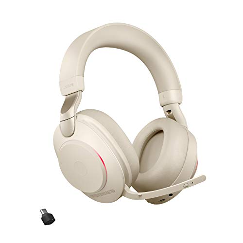 Jabra Evolve2 85 Wireless Headset mit Ladestation – Noise Cancelling UC Zertifizierte Stereo Kopfhörer mit langer Akkulaufzeit – USB-C Bluetooth Adapter – beige