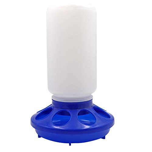 M.Z.A Automatic Poultry Feeder Small, Waste Free Chicken Feeder Jar, Baby Chick Feeder for Birds Pigeon Quail 1 Quart (Blue and White)
