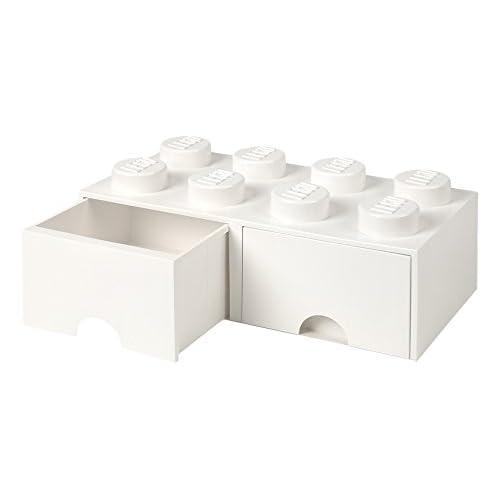 LEGO Brick Schublade 8Knöpfe, 2Schubladen, stapelbar Aufbewahrungsbox, 9,4l, weiß, 001–weiß