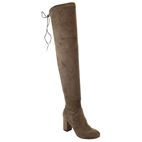 Taupe ShoBeautiful Women's Thigh High Boots Stretchy Over The Knee Chunky Block Heel Boots