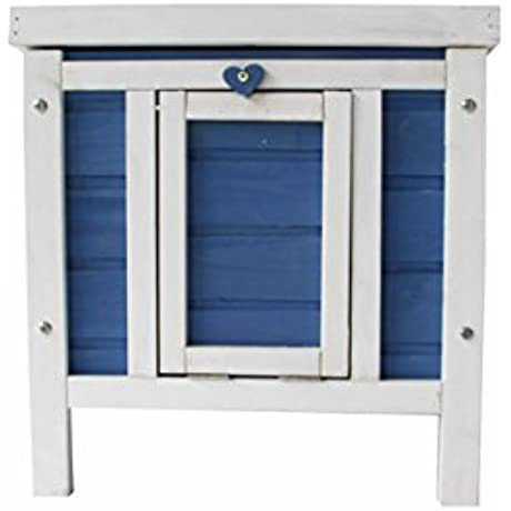 MCombo 0325 Wooden Rabbit Hutch Small Animal House Pet Cage Chicken Coop 17 Blue