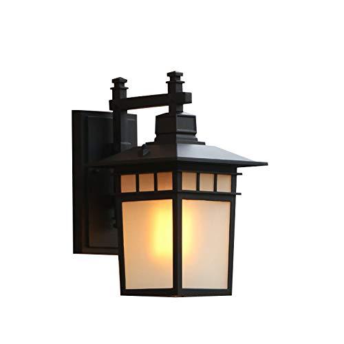 GYHTXHJPET In vetro smerigliato, nero esterno muro luce lanterna in Acciaio Inossidabile luce Spot Giardino Lampada impermeabile
