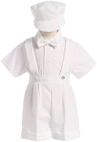 4-Piece Christening Baptism Suspender Short Set - Black or White Cap Bowtie