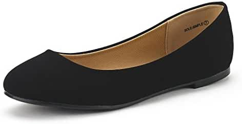 DREAM PAIR SOLE-SIMPLE New Women's Classic Solid Plain Design Comfort Ballerina Walking Flats Shoes