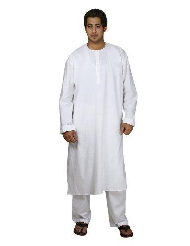 Handmade White Cotton Men's Kurta Pajamas Set – Traditional Indian Costume – Perfect for Casual Summer Dress