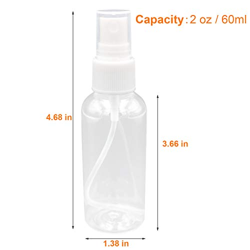 Spray Bottles, 2oz 1oz Clear Empty Fine Mist Plastic Travel Bottles, Leak Proof Portable Refillable Containers with 2 Funnels and 32pcs Labels