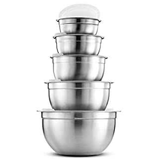 Premium Stainless Steel Mixing Bowls with Airtight Lids (Set of 5) Nesting Bowls for Space Saving Storage, Easy Grip & Stability Design Mixing Bowl Set Versatile For Cooking, Baking & Food Storage