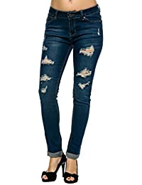 Denim Women's Juniors Distressed Slim Fit Stretchy Skinny...