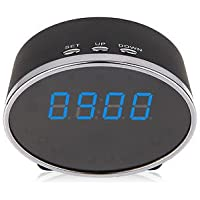 1080p HD WIFI Smartphone Night Vision Spy Nanny Cam Motion Activated Table Clock Security Hidden Camera IR Night Vision Spy Camera Secret Camera for iPhone or Android with 1 Year Replacement Grantee