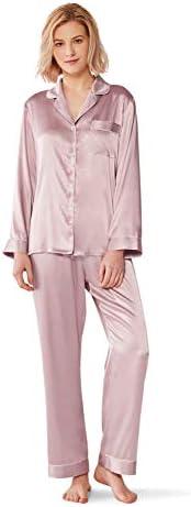 SIORO Women Pajamas Set Satin Long Sleeve Silk Pajamas for Womens, Button Down Nightwear Soft Pj Sets,Small~X-Large