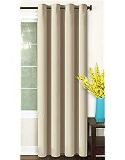 Cartela Thermal Insulated Blackout Room Darkening Grommet Curtains for Living Room/Bedroom (1 Panel) (Beige, 140W x 240H cm)