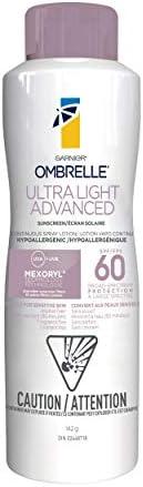 Garnier Ombrelle Ultra Light Sunscreen Body & Face Spray, SPF 60, for Sensitive Skin, Hypoallergenic, Wate